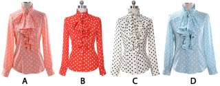 Women Office Lady Ruffle Front high neck Polka Dots Print Top Shirt