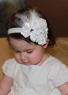 Baby White Feather Pearl Triple Flowers Headband Photo