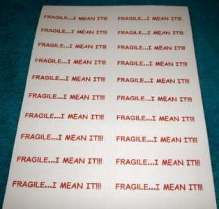 PREPRINTED FUNNY FRAGILE LABELS / STICKERS PRE PRINTED