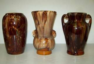 BRUSH McCoy BROWN Drip VASE Lot DOUBLE Handle
