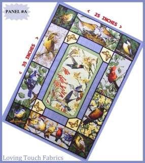 BIRDS CARDINAL, BLUE JAY, YELLOW BIRDS QUILT FABRIC PANEL 25 X 35 #A
