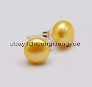 5MM Golden Akoya Pearl Earring Silver Stud,AAA+