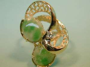 14k solid gold Diamond Green White Jade Cabochon