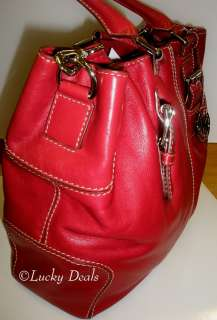 MICHAEL KORS BROOKVILLE HANDBAG DRAWSTRING TOTE BAG RED