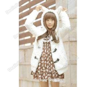 New Womens Girls Suppe Cute Warm Bunny Ears Sherpa Hoodie Jacket Coat