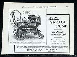 MAGAZINE PRINT AD, HERZS, DOUBLE CYLINDER GARAGE AIR COMPRESSOR PUMP