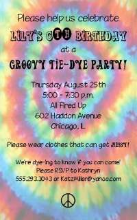 Tie dye Party Invitation Peace Sign Retro Hippie Tiedye