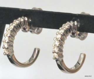 1,365.00 ROBERTO COIN 18K White Gold Diamond Small Hoop Earrings SALE