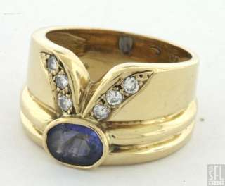 HEAVY 18K GOLD 1.18CTW VS2/G DIAMOND/SAPPHIRE COCKTAIL RING SIZE 6.5
