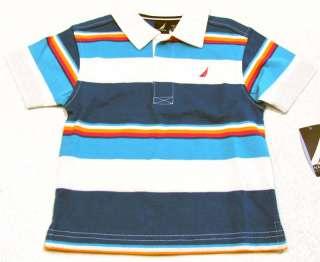 Size 2T Blue/White/Red Stripe Polo Shirt NWT $32 093348953923