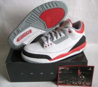 2006 NEW NIKE AIR JORDAN RETRO III 3 FIRE RED DS 10