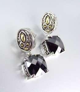 Designer Style Balinese Silver Gold Black Onyx CZ Crystal Petite POST