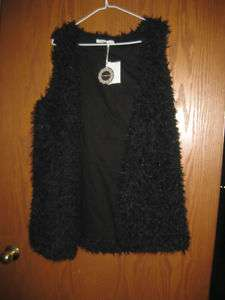 HAZEL BLACK FAUX FUR VEST L LARGE NWT $119 FUN