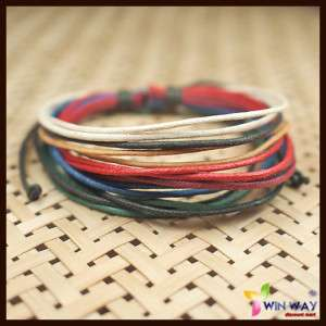 Men Hemp Surfer Tribal Multi Strand Friendship Bracelet
