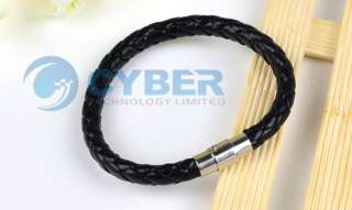 Fashion Black Leather and Stainless Steel Braided Bracelet Wristband