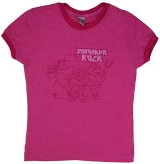 Dinosaur Rock   Barney Sheer Ringer Womens T shirt