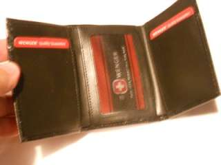 Swiss Army,Wenger Black Polished Leather Trifold Wallet