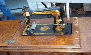 Antique 1905 Singer Art Deco Egyptian Sphinx Oak Treadle Sewing