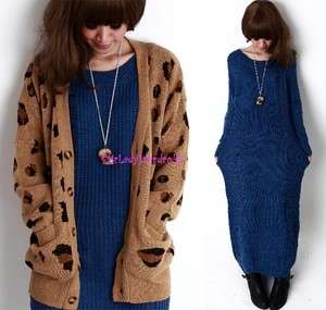 Japan Destroyed Maxi Long Sweater Dress Blue