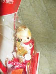 Vintage Shiny Brite Japan Christmas Ornament Angel on a Sleigh New MIP