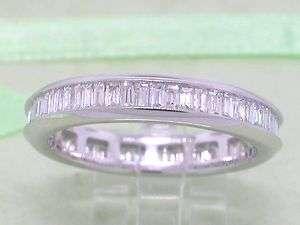 Diamant Baquette cut Ring 585 WeißGold 0,90ct Memoire Memory