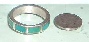 Vintage Southwest Sterling Silver Turquoise Inlaid Ring