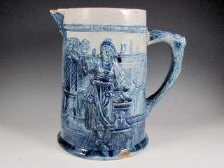 Antique BLUE WHITE/GREY STONEWARE Pitcher Man Lady Vintage Pottery