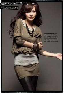 New Sexy Women Long Sleeve Tiered T shirt Mini Dress 3 Colors 1178