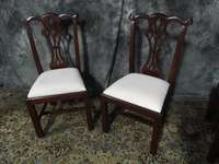 BEAUTIFUL SET OF SOLID MAHOGANY DINING ROOM CHIPPENDALE CHAIRS