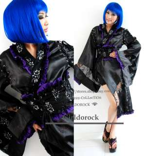 Punk COSPLAY Gothic Lolita kimono DRESS + 61085 pants M