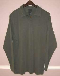 Mens Studio BILL BLASS Green Long Sleeve Polo Shirt L