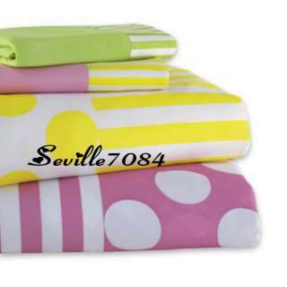 Twin SHEETS~Pink,Yellow,White LARGE Polka Dots,Stripes