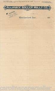 1890s Alliance Roller Mill Weatherford Texas Letterhead
