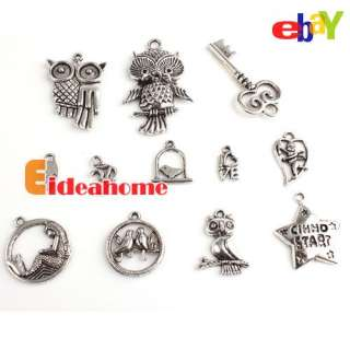 Fashion Multi Bulk Silver Oxide Charms Alloy Pendants Beads Fit Charms