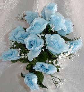 color light blue bush height 19 rose height 2 5 rose width 2 you get