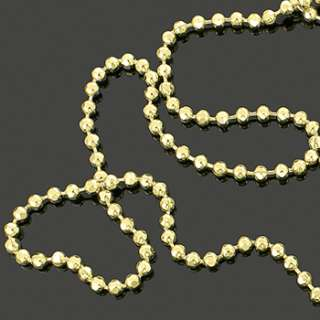 Mens 36 14k Gold Plated Diamond Cut Bead Chain Hip Hop Military Ball
