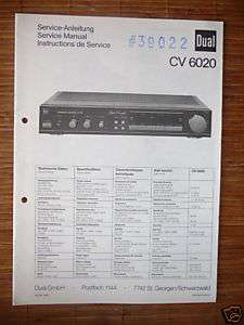 Service Manual für Dual CV 6020 Amplifier, ORIGINAL!!!
