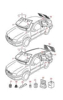 VW Golf IV/Bora 2002 Left Rear Door Glass 1J9845215A