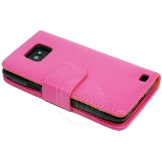 PINK WALLET LEATHER CASE FOR SAMSUNG GALAXY S2 i9100
