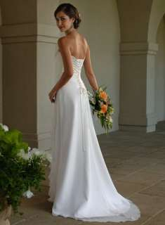 New Stock White/Ivor​y Chiffon Wedding Dress Bridal Gown Size6/8/1