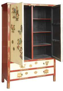 Chinese Style Furniture Hand Painted Double Wardrobe