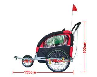 CHILD BIKE TRAILER CHILDREN STROLLER KIDS BICYCLE R/B