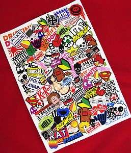 A4 Sticker Bombing Decal Sheet Sticker Bomb Skateboard Bmx Bike