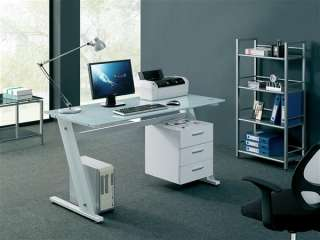 WHITE GLASS COMPUTER DESK Home Office Table PC New