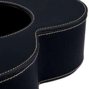 Ciotola doppio per cane in ecopelle nero L 39 x P 26 x H 7 cm.