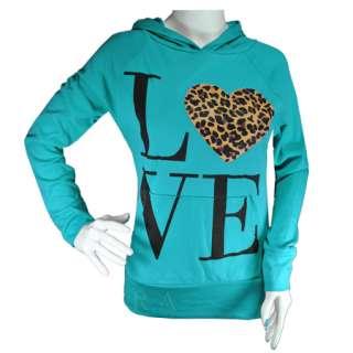 Animal Leopard Print LOVE Heart Slogan Hoodie Jumper Top Womens Size 8