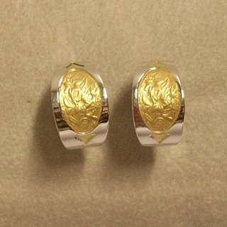 Orecchini donna Oro bianco Inserto Oro giallo gr 6,10