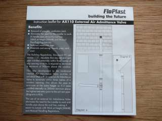 FloPlast WHITE 4 AX110 External Air Admittance Valve 110mm 82mm Durgo