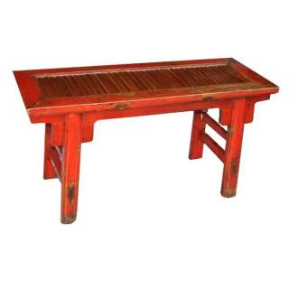 Chinese Antique Furniture   Original Red Bamboo Inlay Bench (10 103