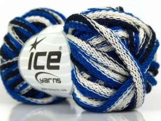 Lot of 6 Skeins ICE SOFT FRILLY Hand Knitting Yarn Blue White Navy